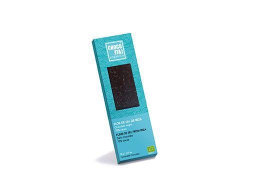 Chocolate negro 70 % cacao, Flor de sal de Ibiza ecológico Organiko