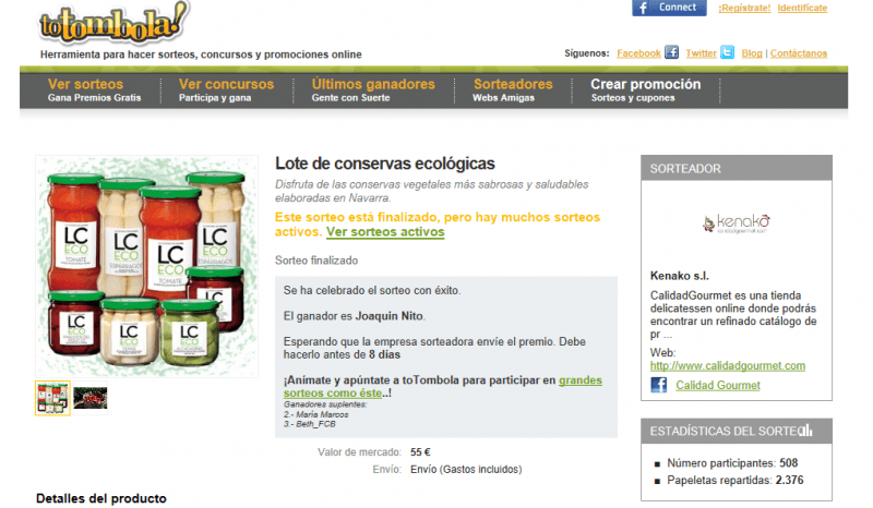 Sorteo Pack Conservas Ecológicas LC ECO