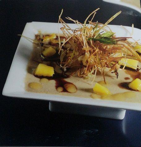 mamia de foie gras con mango y jengibre