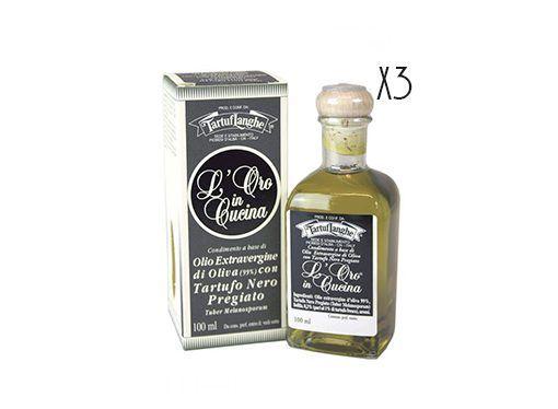 Aceite de oliva virgen extra con trufa negra Tartuflanghe 3 botellas de 100 ml.