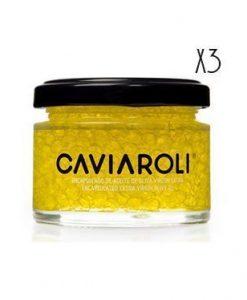 Encapsulado de aceite de oliva virgen extra Arbequina Caviaroli 3 tarro de 50 g.