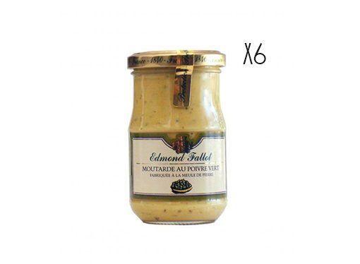 Mostaza Dijon a la pimienta verde Edmond Fallot 6 tarros de 210 g.