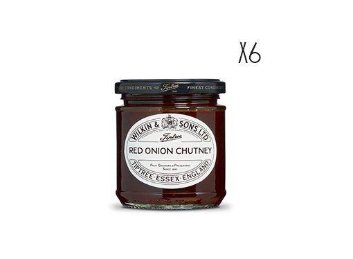 Chutney de cebolla roja Tiptree 6 tarros de 220 g.