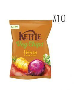 Chips de vegetales fritos, sal marina, miel, pimienta negra y hortalizas Kettle