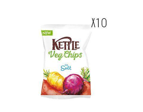 Chips de vegetales fritos, sal marina, vinagre balsámico de Módena y hortalizas Kettle
