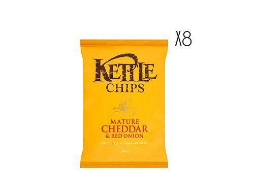 Patatas fritas con cheddar maduro y cebolla roja Kettle