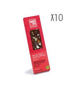 Chocolate con leche, avellana y piel de naranja de Mallorca ecológico Organiko