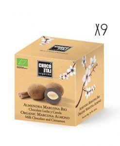 Almendra Marcona chocolate con leche y canela ecológico Organiko