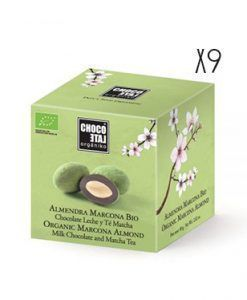 Almendra Marcona chocolate con leche y té Matcha ecológico Organiko