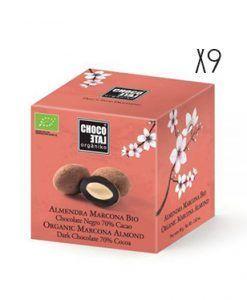 Almendra Marcona chocolate negro 70% cacao ecológico Organiko
