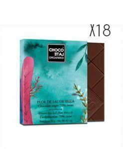 Chocolate negro 70 % cacao, con sal de Ibiza ecológico Organiko