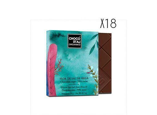 Chocolat noir bio 70% cacao et fleur de sel d'Ibiza Organiko