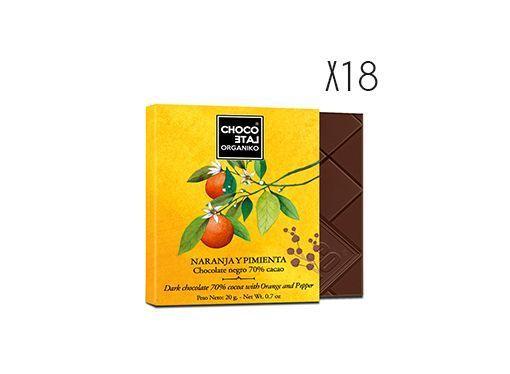 Chocolate negro 70 % cacao, naranja y pimienta ecológico Organiko