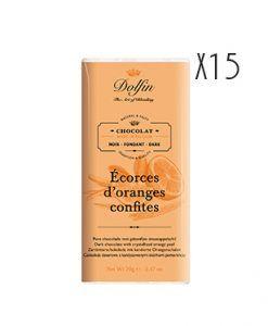 Chocolate negro con corteza de naranja confitada Dolfin