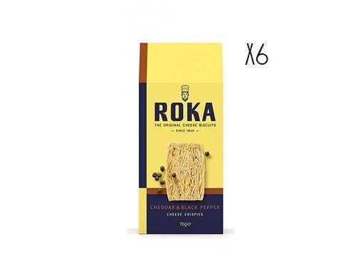 Galletas crujientes de queso cheddar con pimienta negra Roka