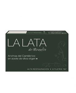 """Anchoa del Cantábrico """"00"""" en aceite de oliva 8 filetes La Lata de Braulio"""