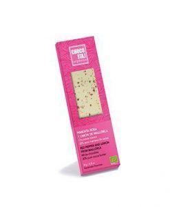 Organic milk chocolate with pink pepper and lemon from Majorca Organiko