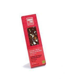 Organic milk chocolate with hazelnut and orange peel from Majorca Organiko