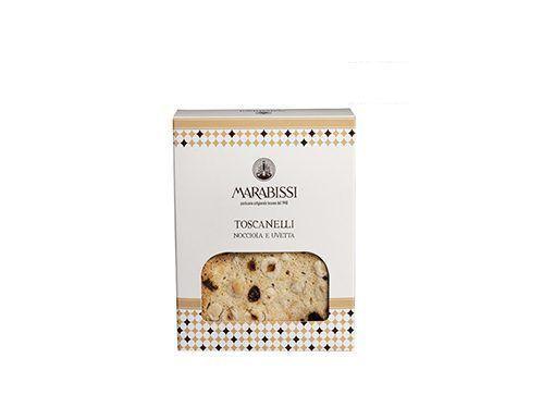 Toasts fins, croustillants et sucrés aux noisettes et raisins marabissi